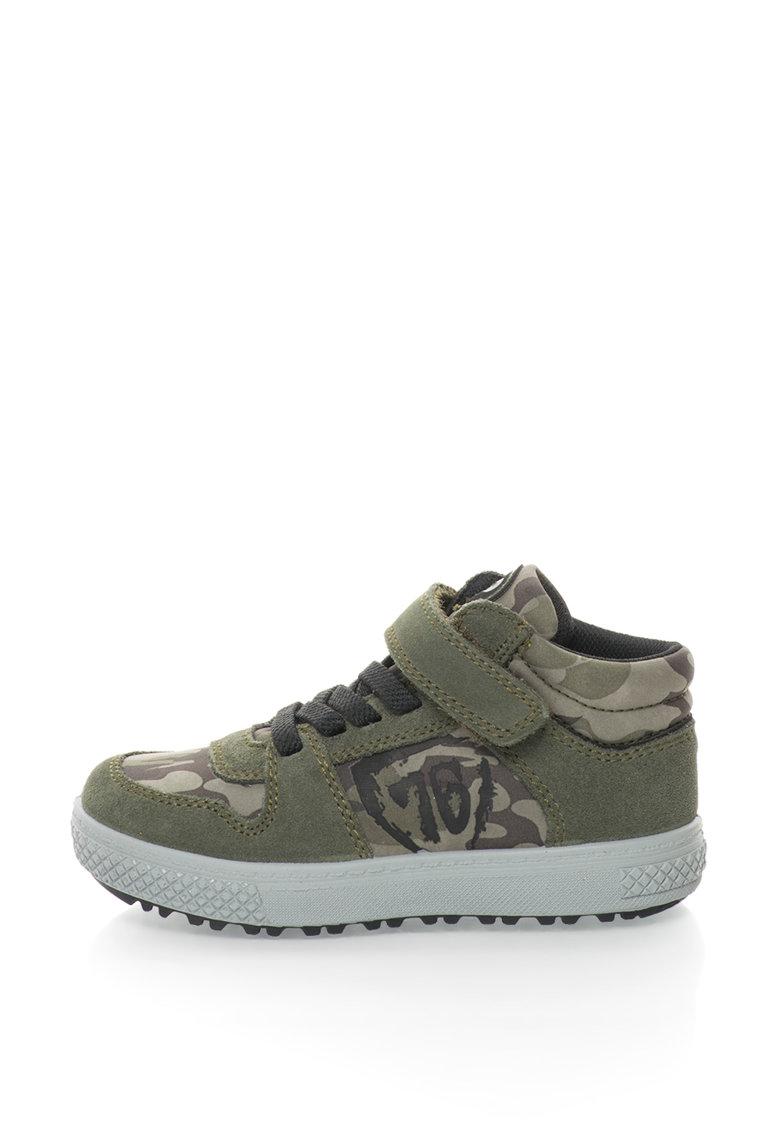 Pantofi sport mid-high cu imprimeu camuflaj