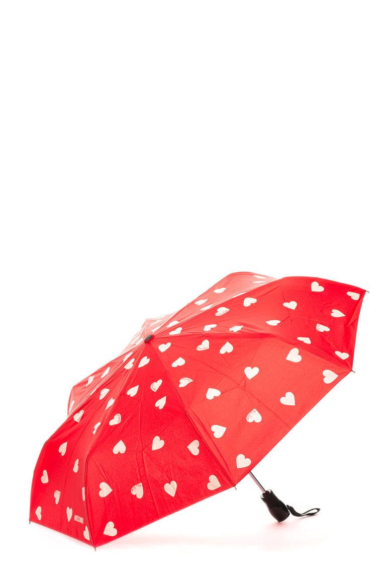 Umbrela telescopica cu imprimeu inimi de la Moschino