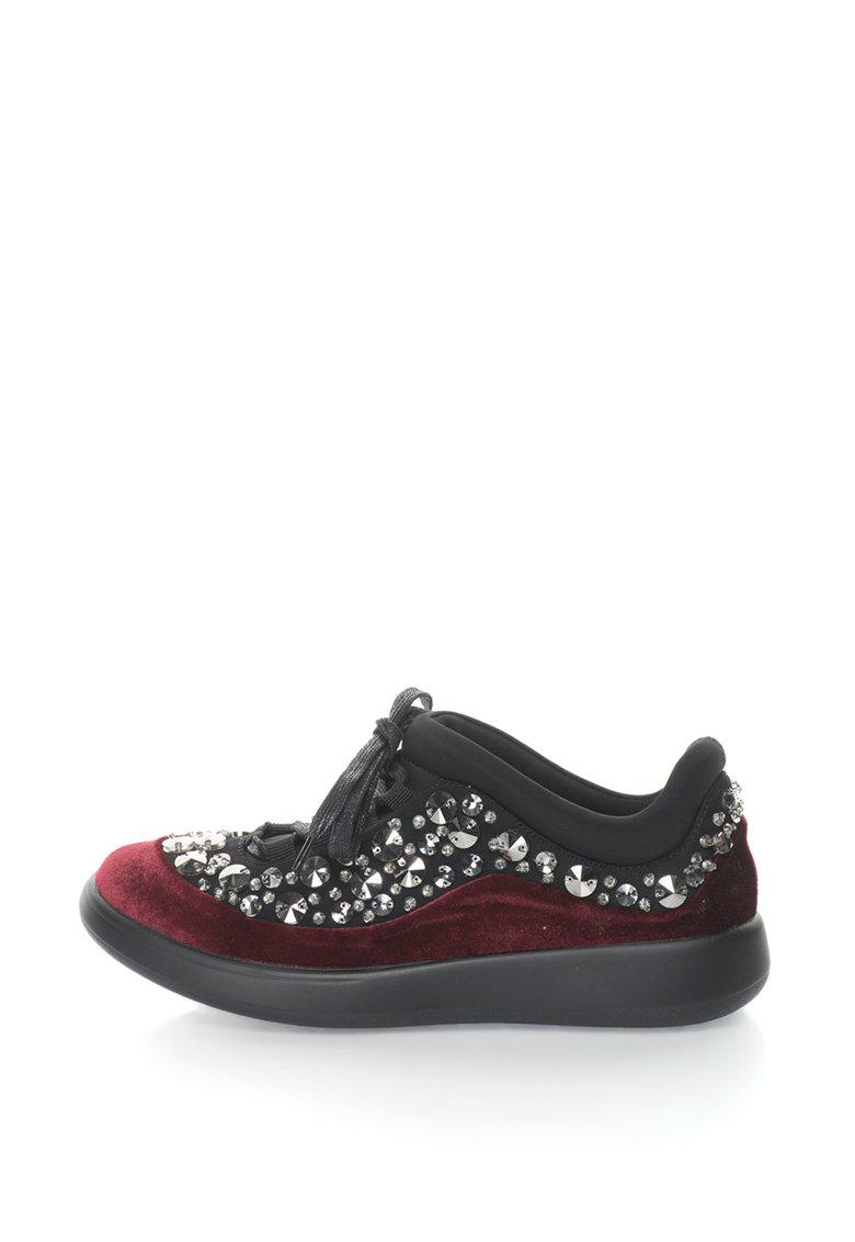 Oakoui Pantofi sport catifelati cu strasuri