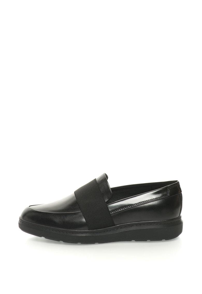 Pantofi loafer de piele cu bareta elastica Jerrica Geox