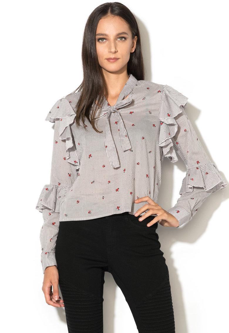 Bluza in dungi cu broderii florale Marion