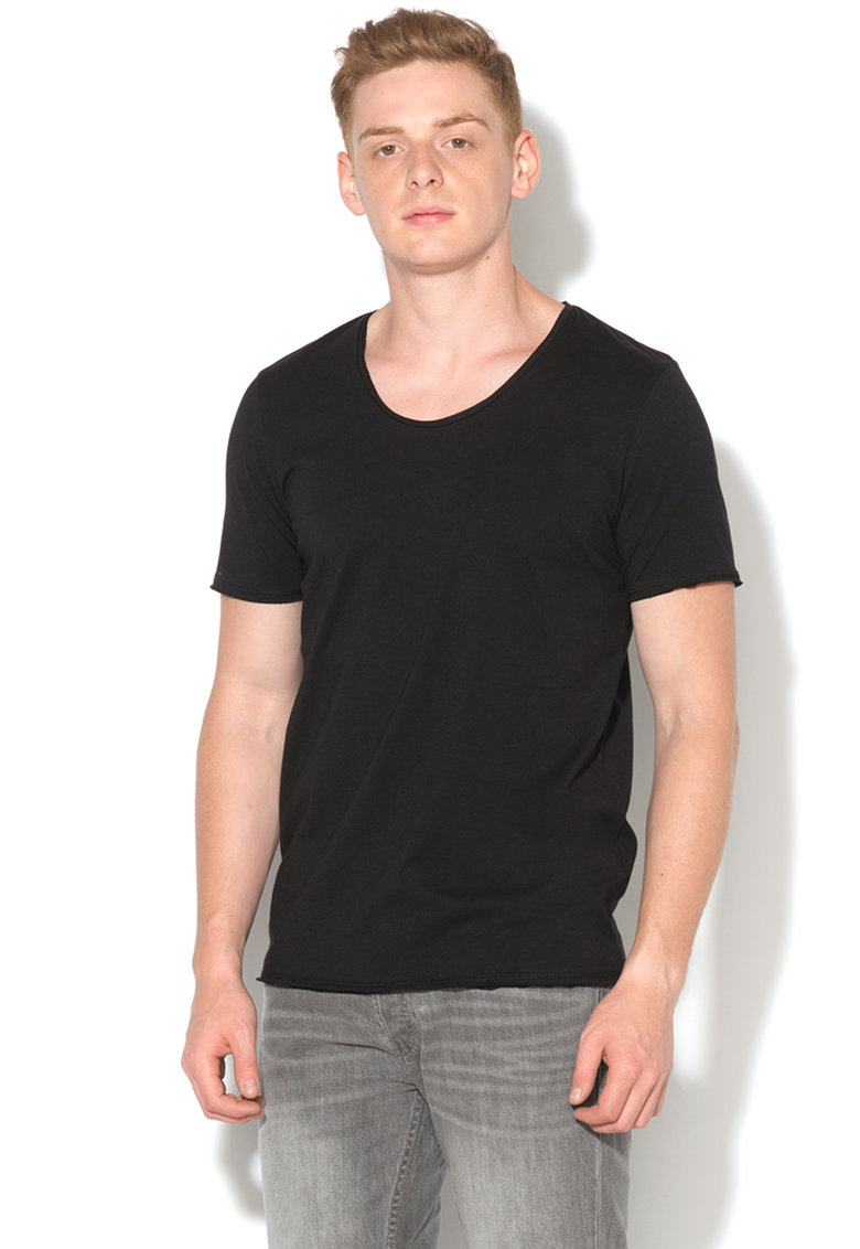 Tricou slim fit cu margini rasucite Raw