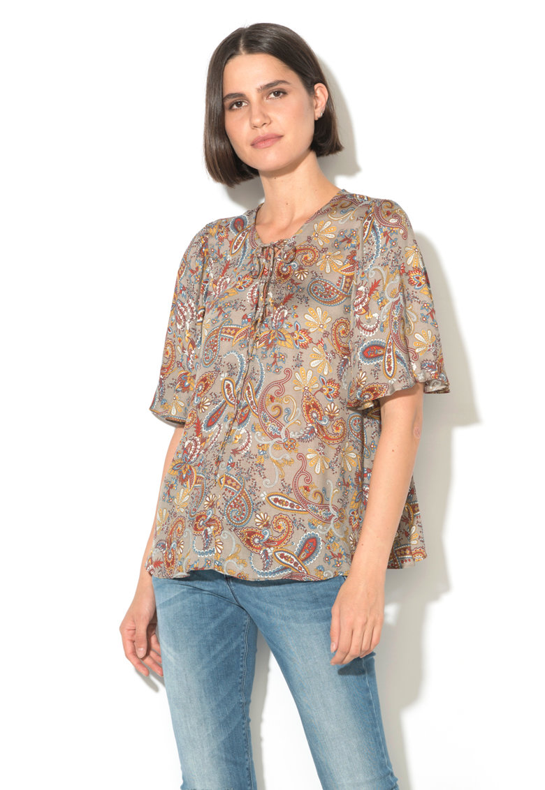 United Colors of Benetton Bluza cu croiala lejera si model paisley