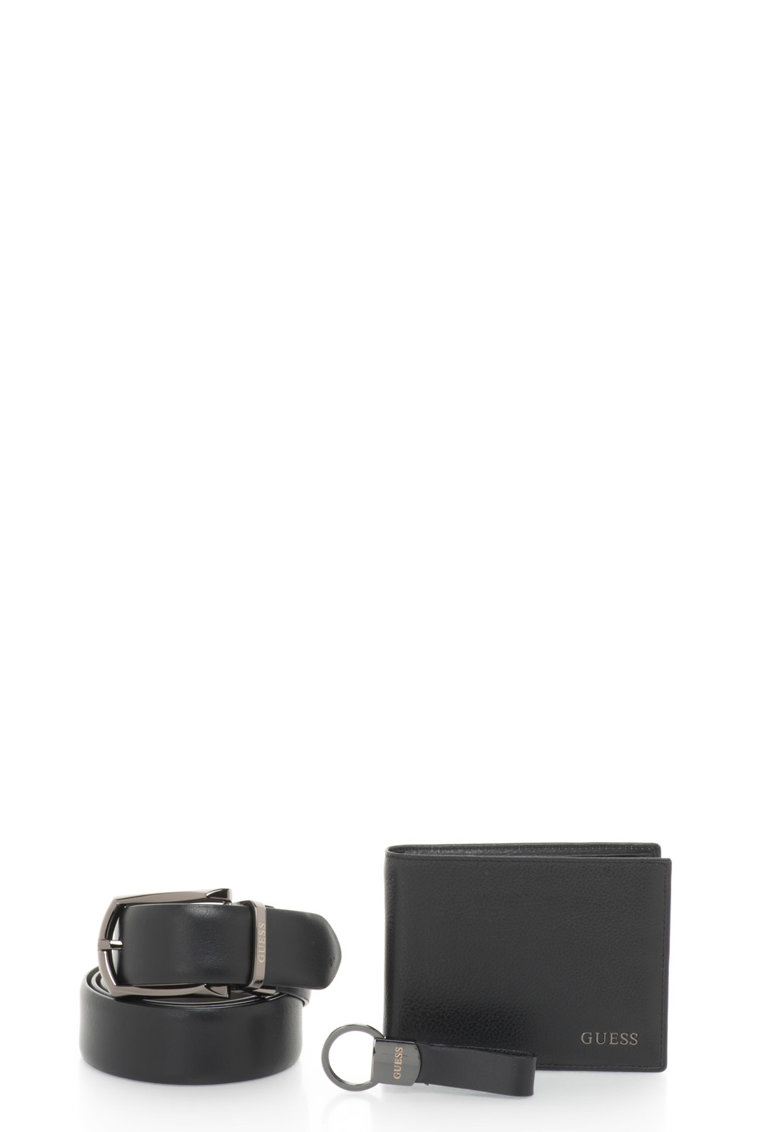 Set de curea de piele – portofel si breloc de la Guess – BMGIF3-LEA35-BLA