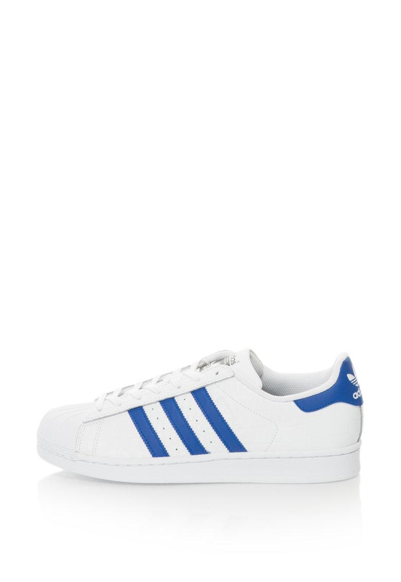 Adidas ORIGINALS Pantofi sport texturati cu detalii contrastante Superstar – Alb/Albastru