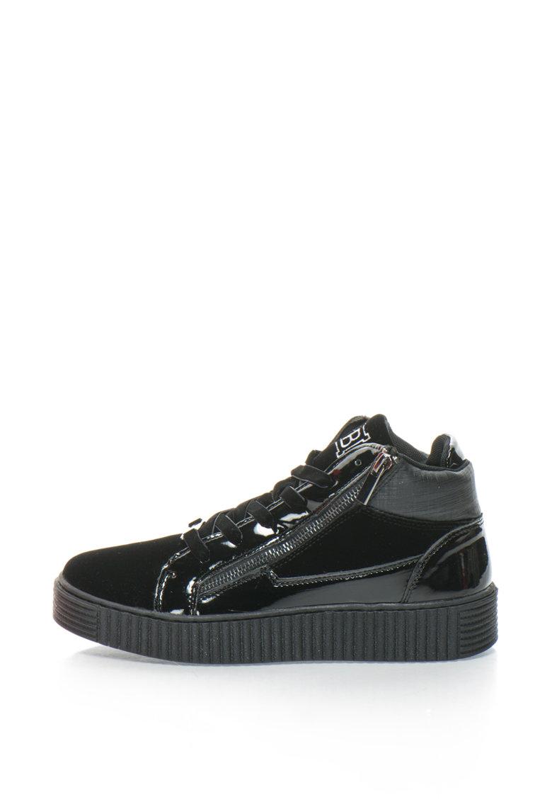 Pantofi sport mid-high - cu detalii lacuite