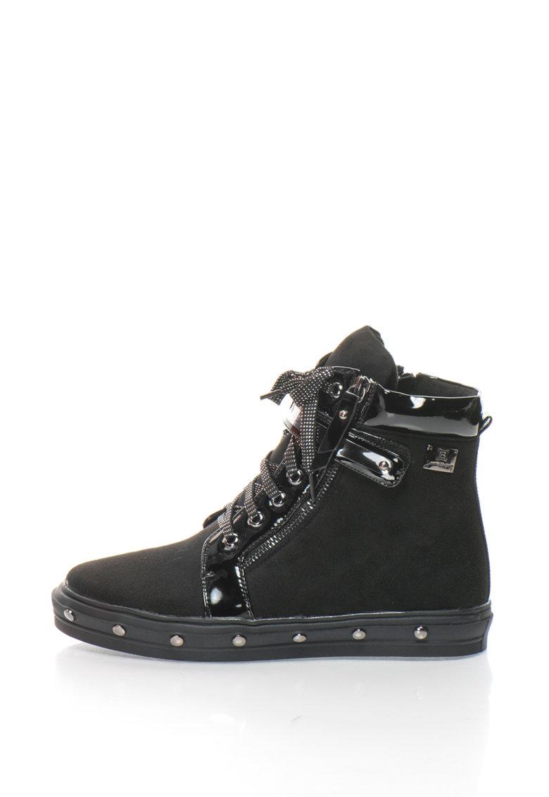 Pantofi sport hi-top de piele intoarsa sintetica cu sireturi stralucitoare