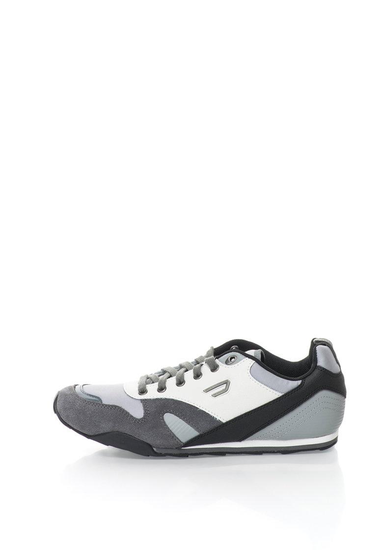 Diesel Pantofi sport cu garnituri de piele si piele intoarsa Dynagg