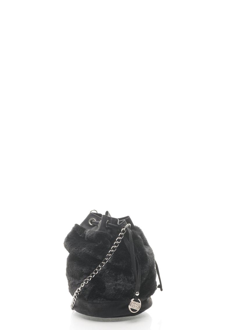 Geanta bucket cu segmente de blana sintetica de la Gioseppo