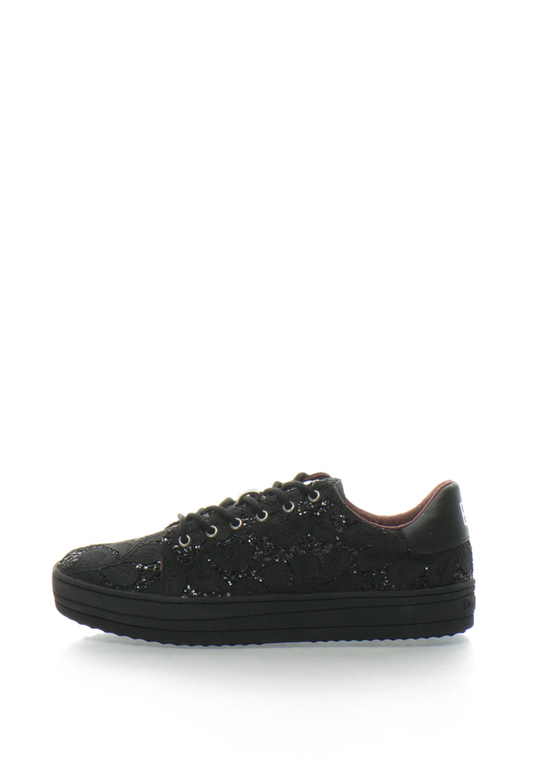 Pantofi sport flatform cu dantela si paiete Funky