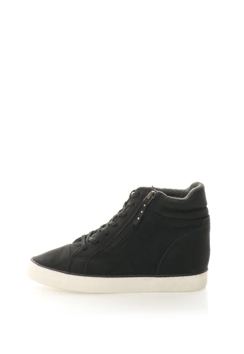 Pantofi sport de piele sintetica cu platforma wedge ascunsa Esprit