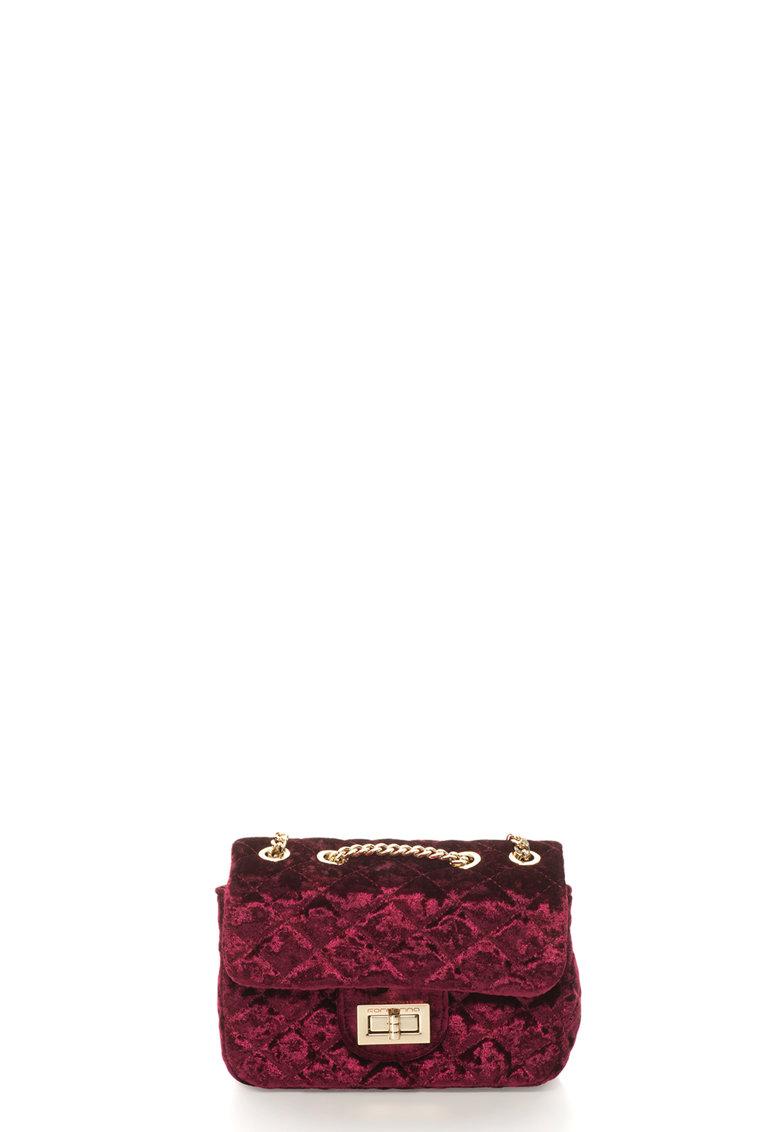 Geanta de umar – din catifea – cu design matlasat Dahlia de la Fornarina
