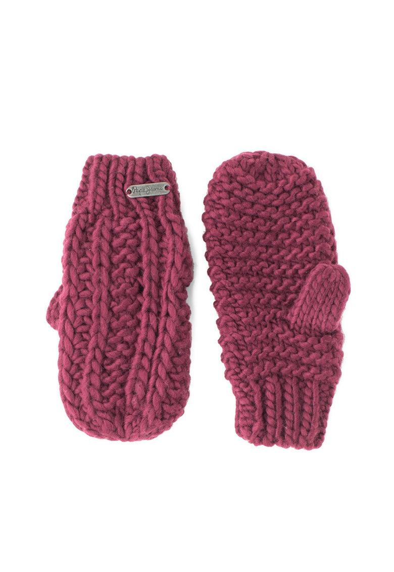 Manusi tricotate cu aplicatie logo Ribi
