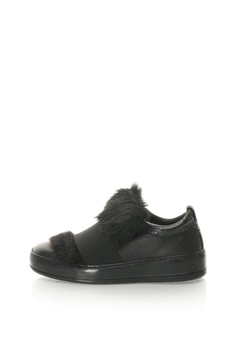 Bronx Pantofi slip-on de piele cu captuseala de blana sintetica