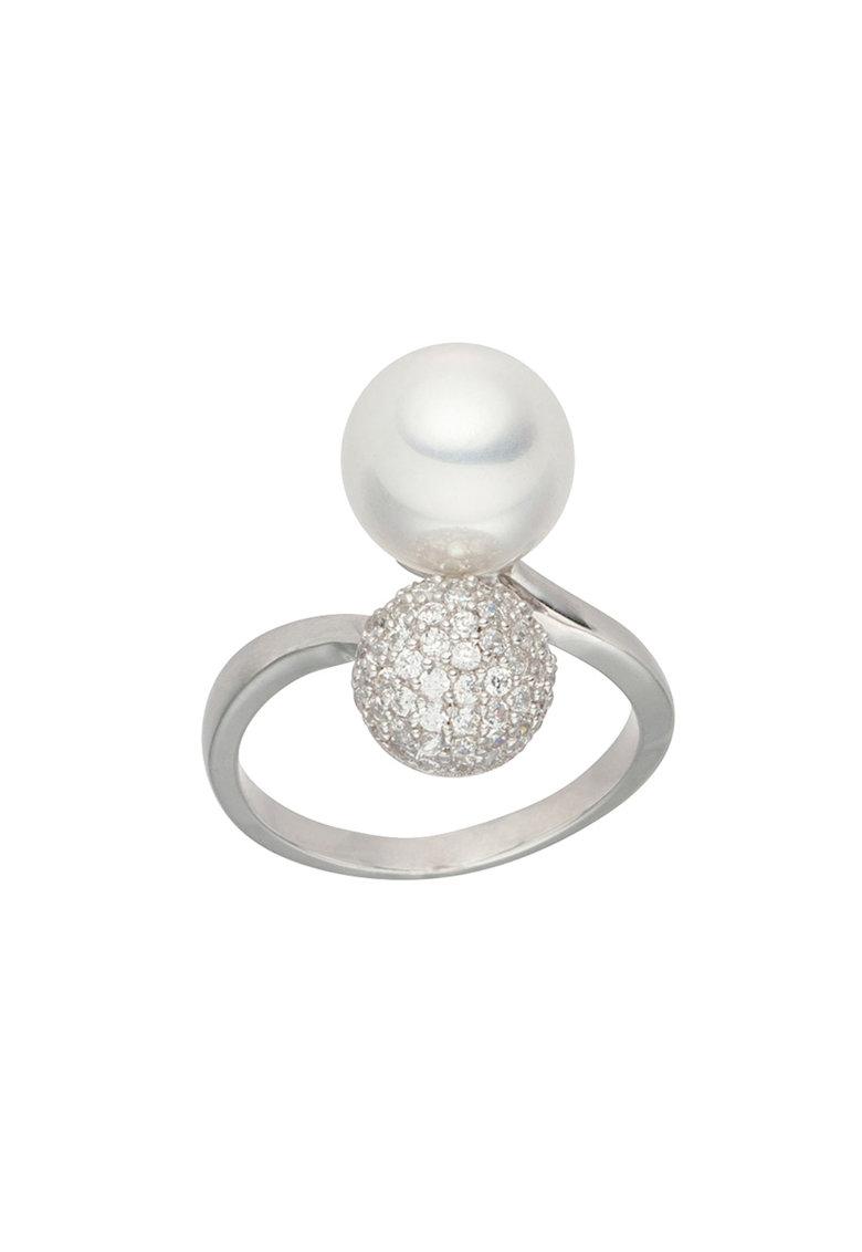 Zee Lane Inel cu perla sintetica si zicornia cubica