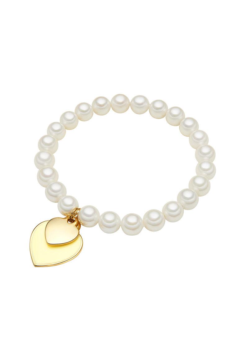 Bratara din perle cu pandantive in forma de inima de la Zee Lane