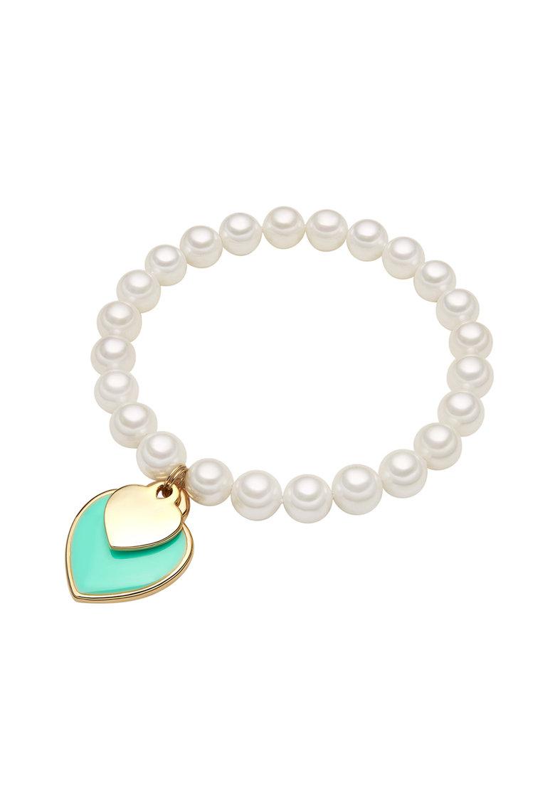 Bratara cu perle si pandantive in forma de inima de la Zee Lane