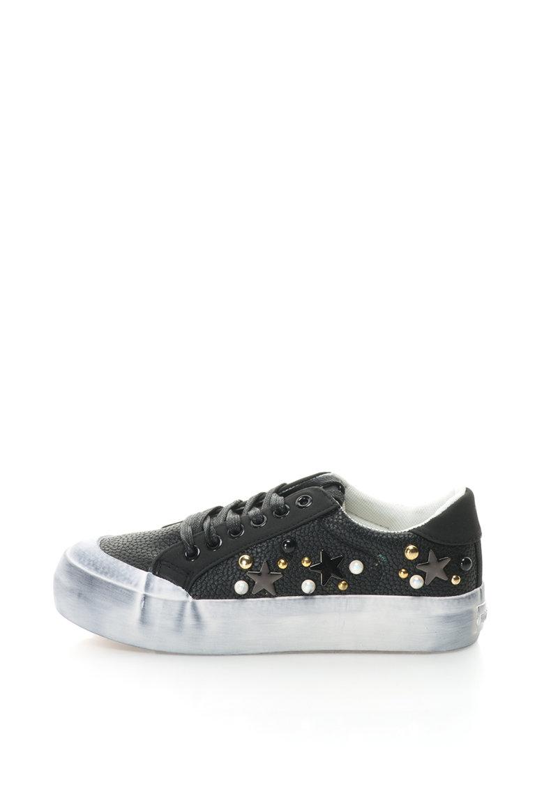Pantofi sport flatform de piele sintetica