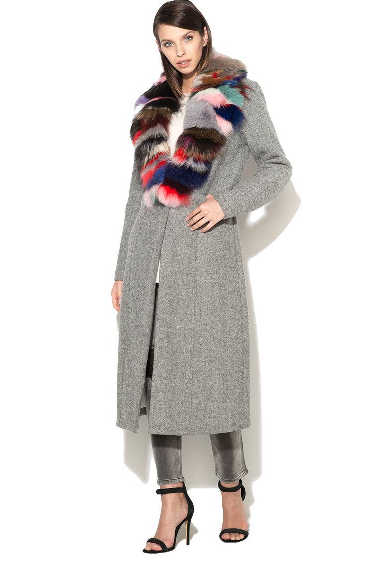 Haina lunga din amestec de lana cu guler din blana sintetica Pettinengo de la Silvian Heach Collection