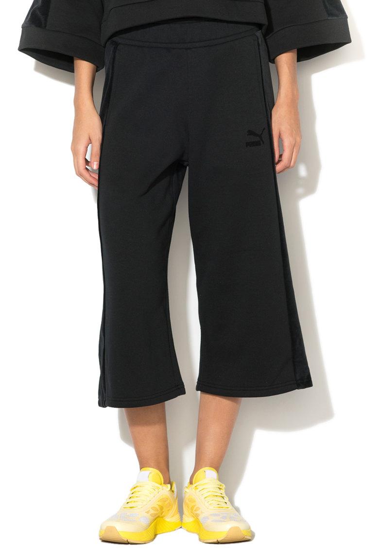 Puma Pantaloni baggy cu garnituri de catifea