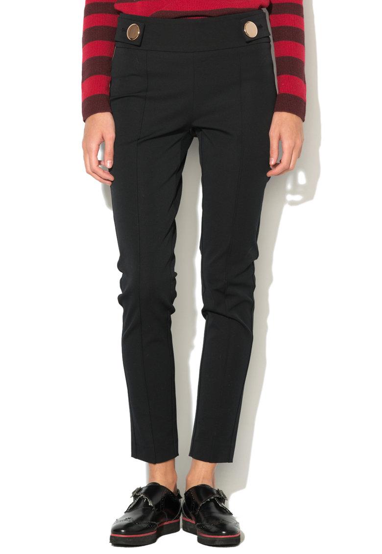 Pantaloni skinny fit cu talie inalta si nasturi metalici de la Esprit