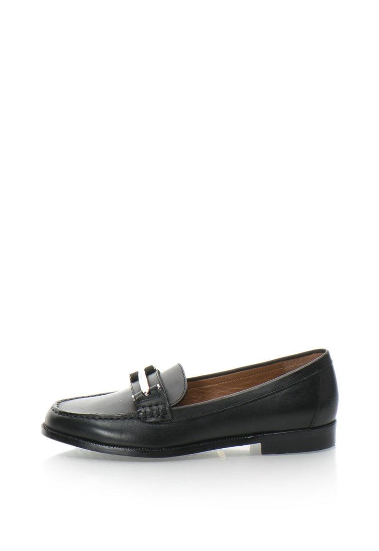 Pantofi loafer penny de piele cu aplicatie metalica Flynn