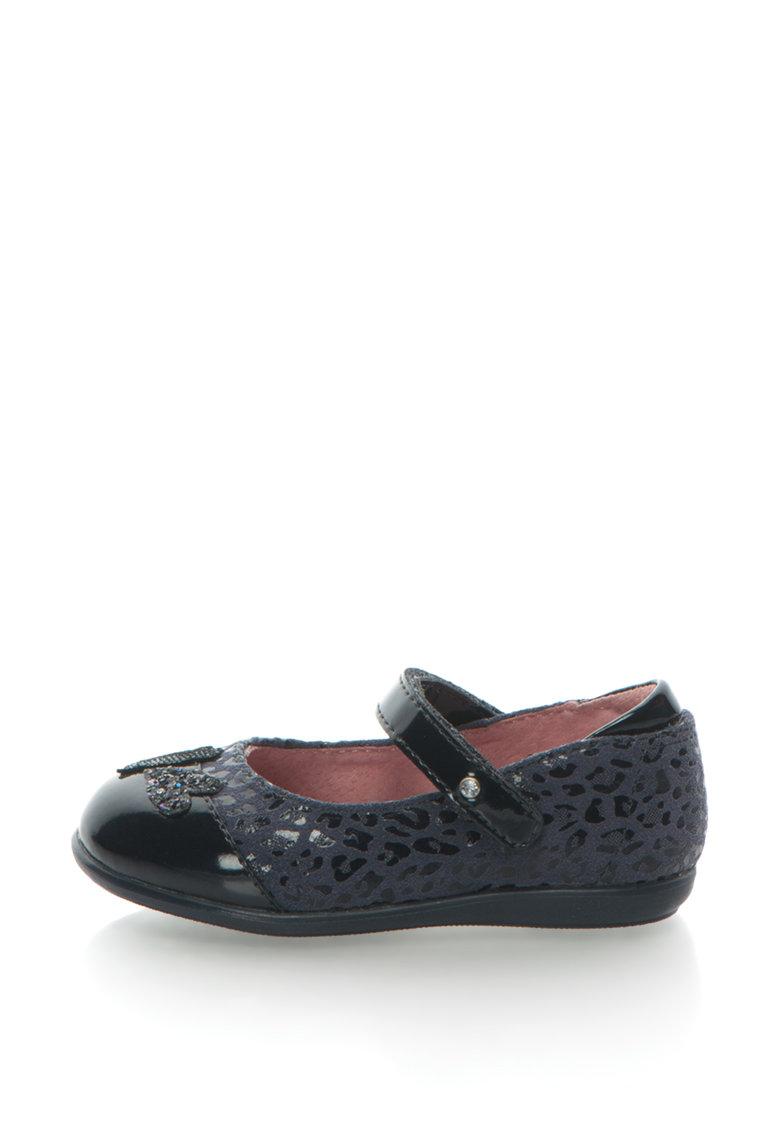 Pantofi Mary Jane De Piele Lacuita Si Piele Intoarsa