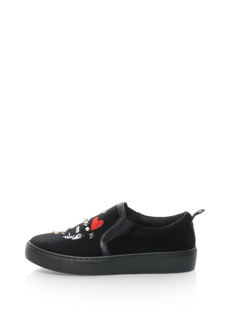 Pantofi slip-on de catifea - brodati - cu margele