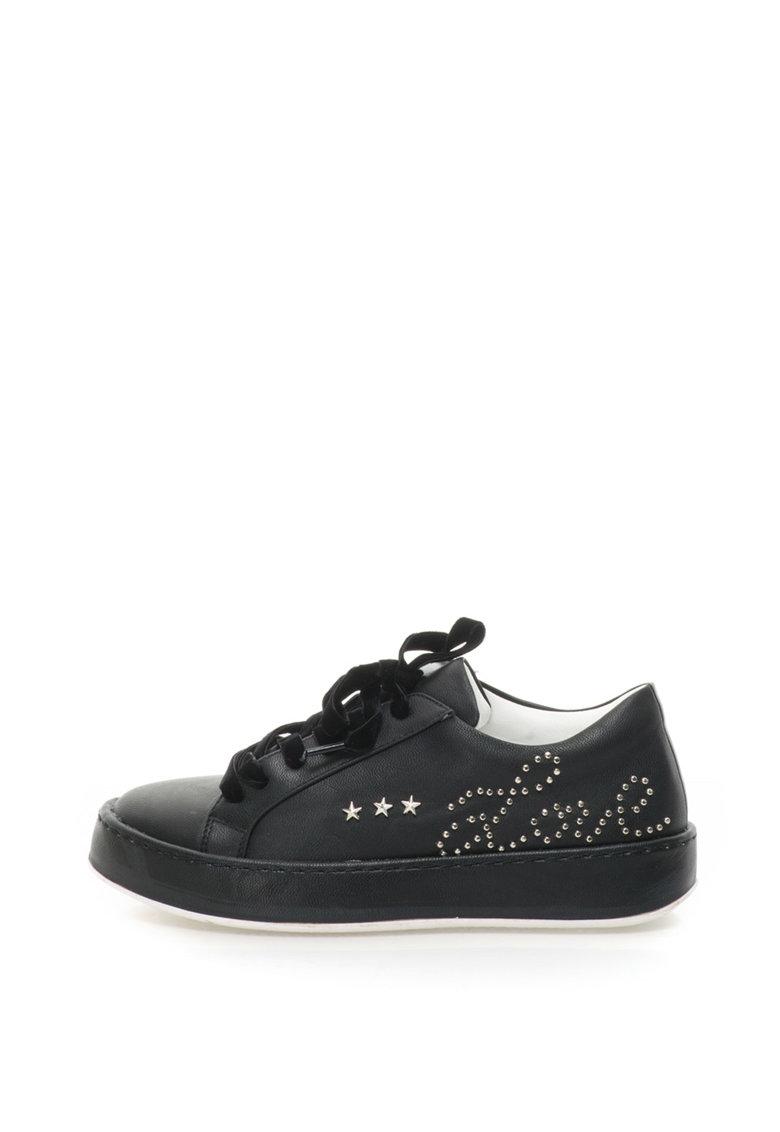 Fiorucci Pantofi sport flatform de piele sintetica cu sireturi de catifea