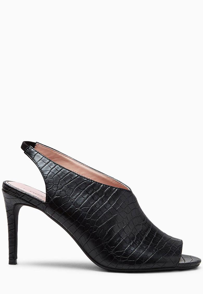 Sandale slingback to varf decupat si model reptila de la NEXT