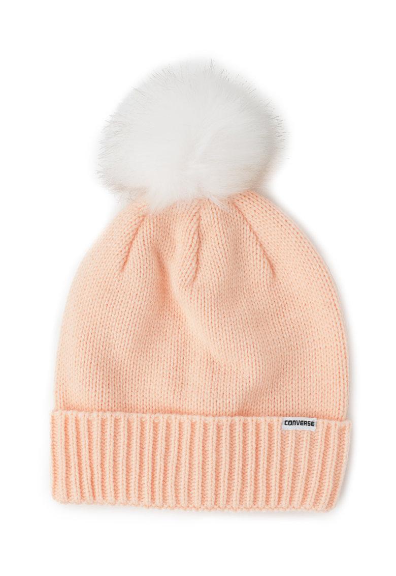 Converse Caciula elastica tricotata cu un ciucure de blana sintetica