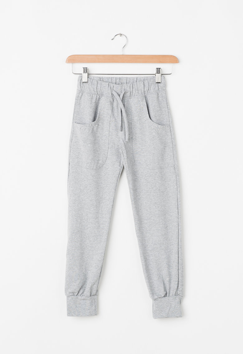 Pantaloni jogger cu aplicatie din strasuri de la Zee Lane Kids
