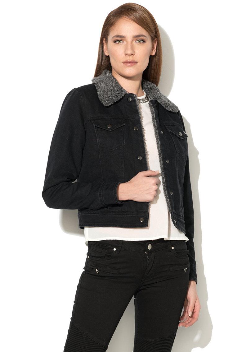 Jacheta din denim cu blana shearling sintetica Chris de la Only