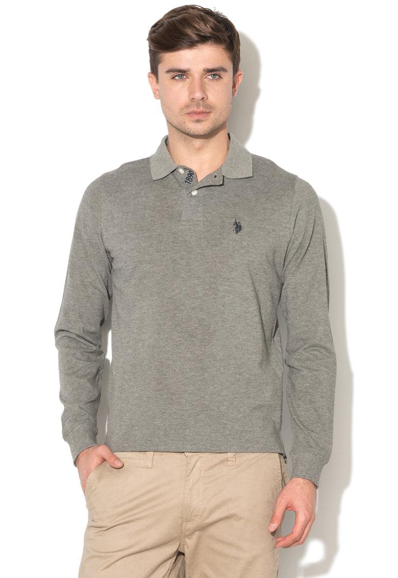 Bluza polo cu logo si mansete elastice de la US Polo Assn