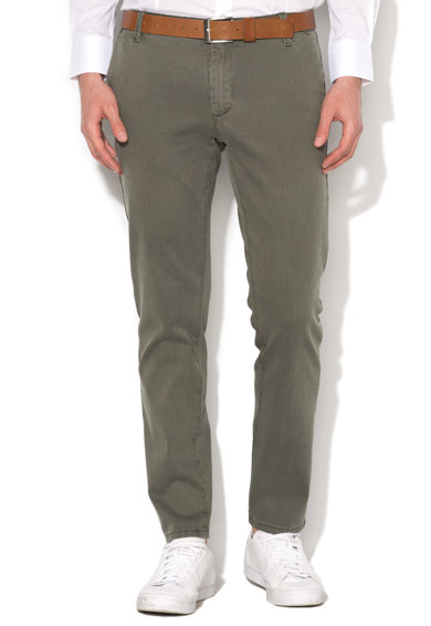 Zee Lane Denim Pantaloni chino verde oliv inchis in dungi Barbati