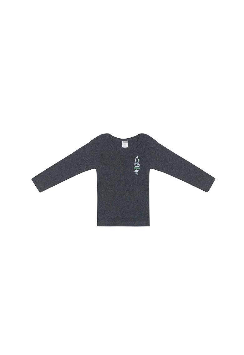 Bluza cu imprimeu si decolteu rotund thumbnail