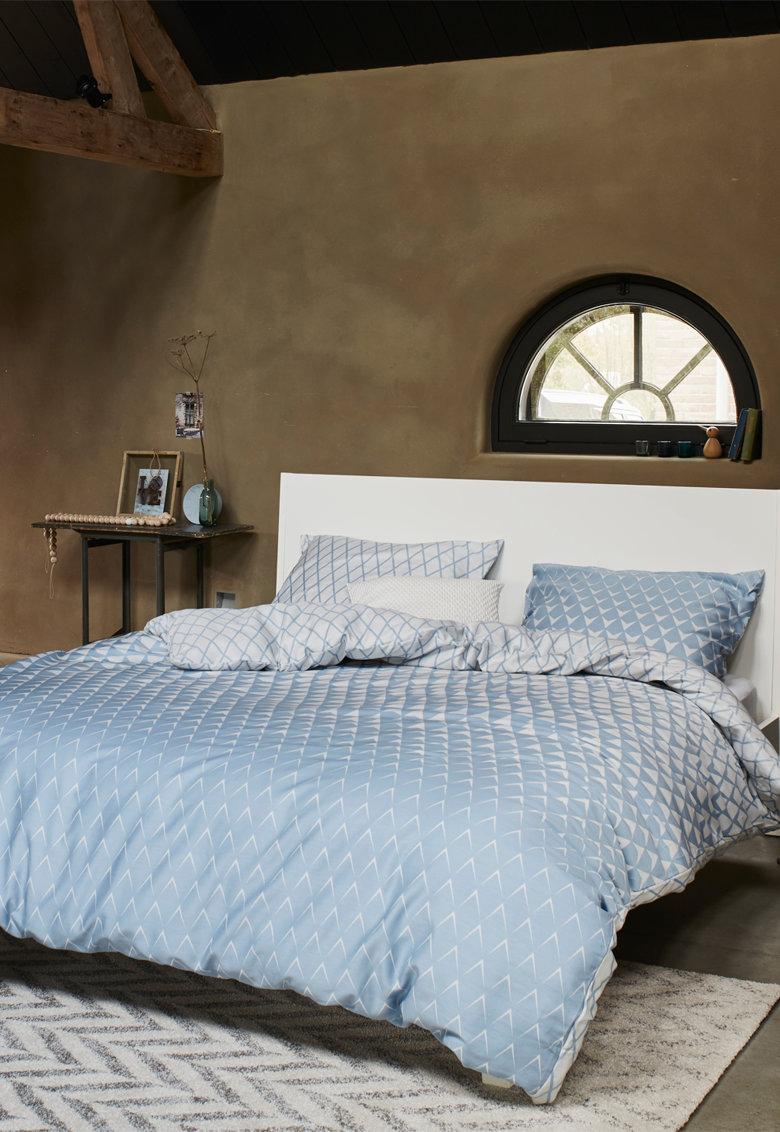 Set de pat cu model geometric Mina - Albastru/Alb thumbnail