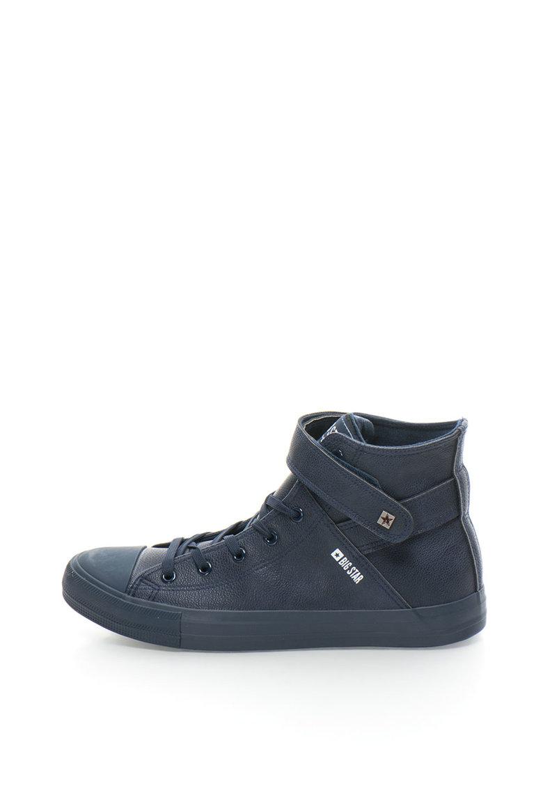 Pantofi sport mid-high de piele sintetica cu sireturi si velcro thumbnail