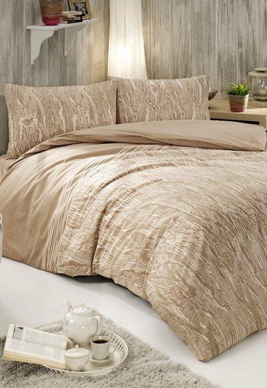 Set de pat maro taupe cu model abstract alb de la US Polo Assn