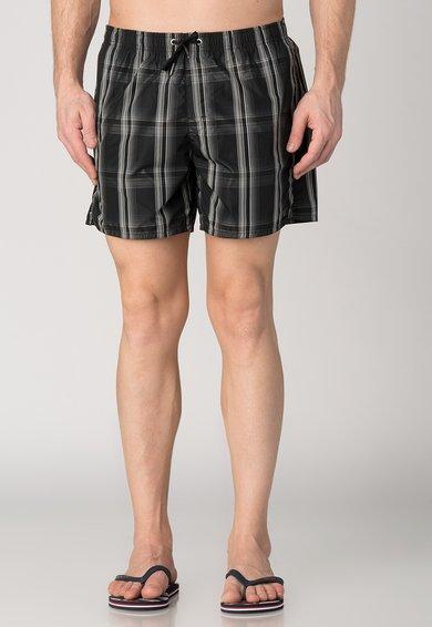 Pantaloni scurti de baie cu patrate negre si albe de la Emporio Armani