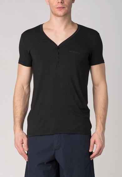 Tricou negru cu decolteu en-coeur si nasturi de la Emporio Armani