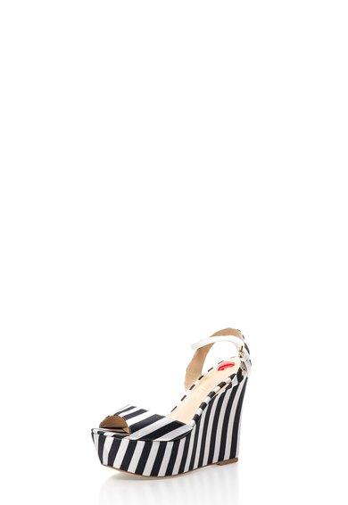 Sandale wedge negru cu alb cu dungi