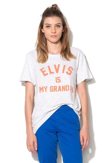 Tricou gri deschis melange cu mesaj Falvis de la Eleven Paris
