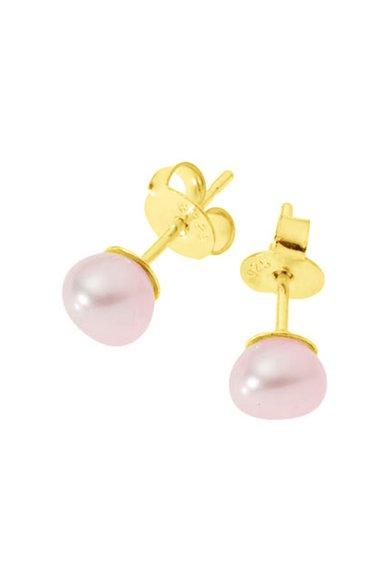 Perles Addict Cercei cu tija si perle roz