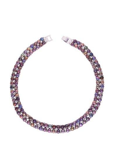 Perles Addict Colier negru din perle cu 2 siraguri