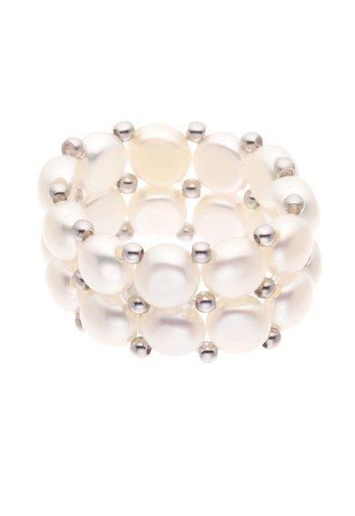 Inel alb din perle cu 2 randuri Perles Addict