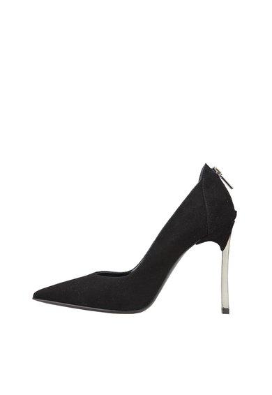Pantofi negri din piele intoarsa cu fermoar si toc stiletto Edit de la Versace 1969 Abbigliamento Sportivo