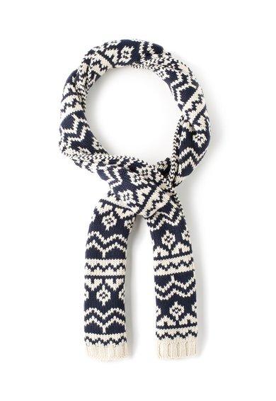Fular tricotat bleumarin cu bej Ronel