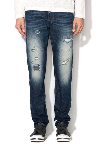 FashionDays.ro: Jeansi slim fit albastru inchis cu aspect uzat Stockholm Sisley