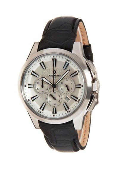 Lancaster Ceas cronograf negru cu curea din piele Apollo